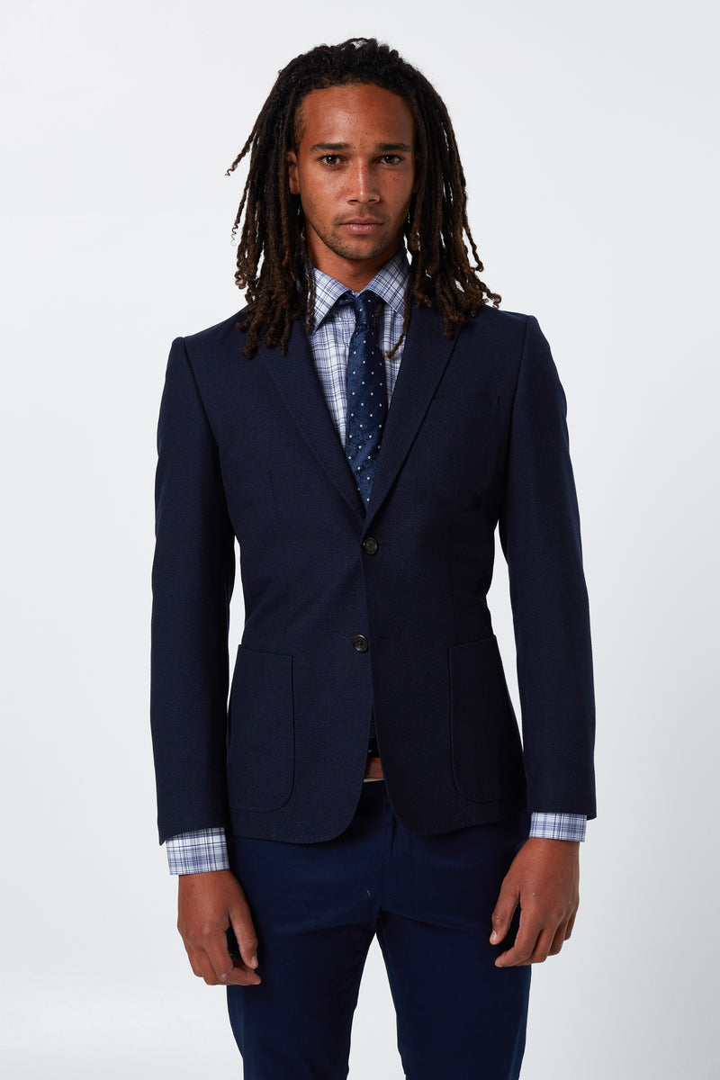 NAVY WOOL COTTON SLIM FIT RONAN BLAZER