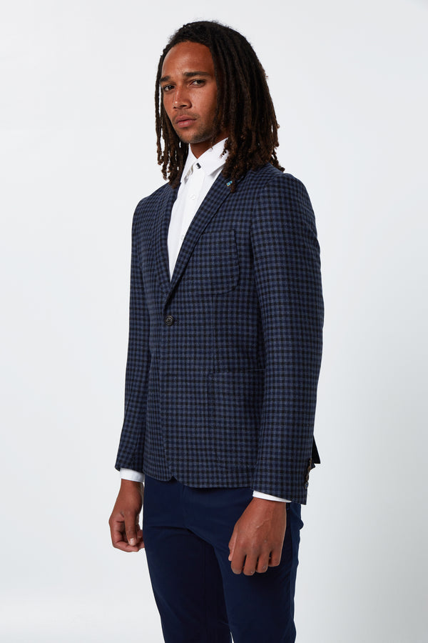 NAVY MELANGE GINGHAM WOOL CHECK ALEC BLAZER
