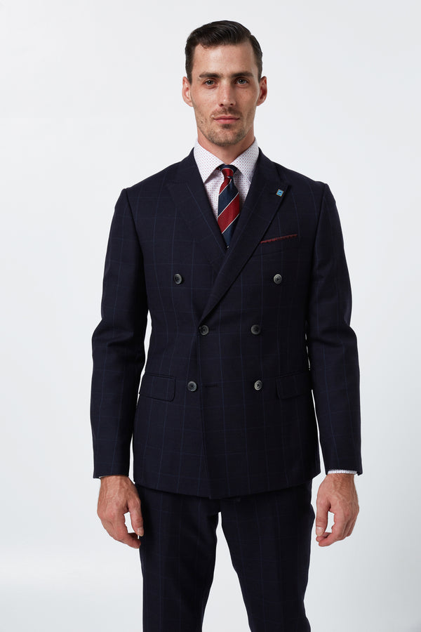 NAVY WINDOWPANE CHECK WOOL SLIM FIT DOUBLE BREASTED ALEXANDER JACKET