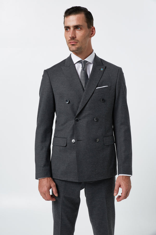 GREY STRETCH WOOL FLANNEL DOUBLE BREASTED SLIM FIT ALEXANDER JACKET