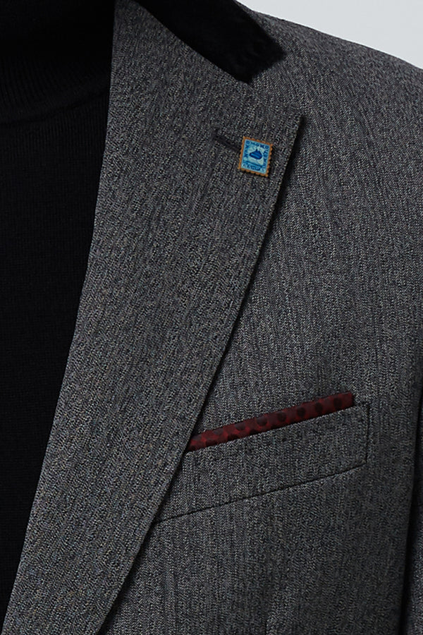 CHARCOAL STRETCH MELANGE WOOL BARKHAT BLAZER