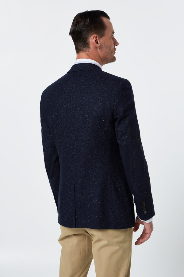 NAVY WOOL SILK TWEED REGULAR FIT CASPIAN BLAZER