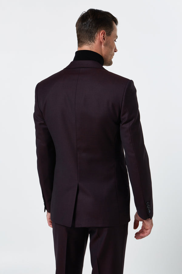RED WOOL BIRDSEYE SLIM FIT COSMOS JACKET