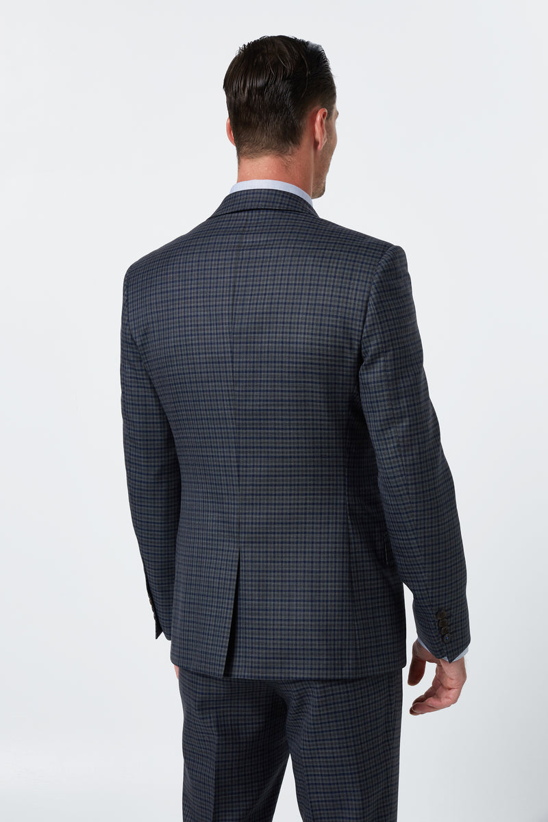 GREY AND INDIGO GINGHAM CHECK SUPER 110'S WOOL SLIM COSMOS JACKET