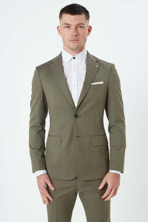 KHAKI COTTON WOOL STRETCH SLIM FIT DIMITRY JACKET