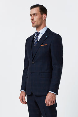 NAVY PRINCE OF WALES CHECK MELANGE SLIM FIT DIMITRY JACKET