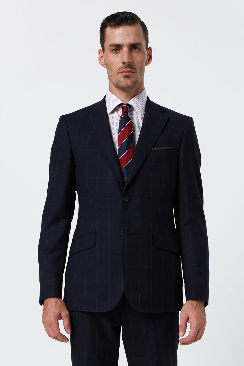 NAVY WINDOWPANE CHECK WOOL SLIM FIT HEARTS JACKET