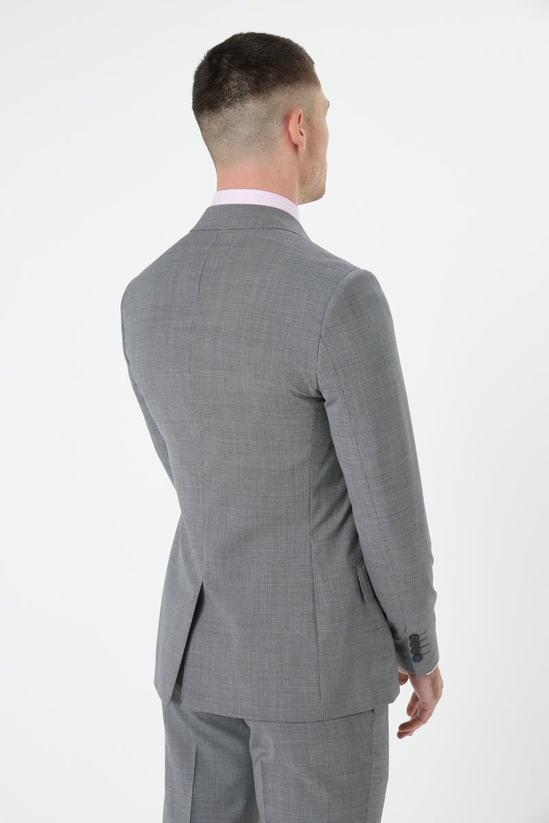 GREY TEXTURED MICRO SUPER 100'S WOOL SLIM FIT HEARTS JACKET