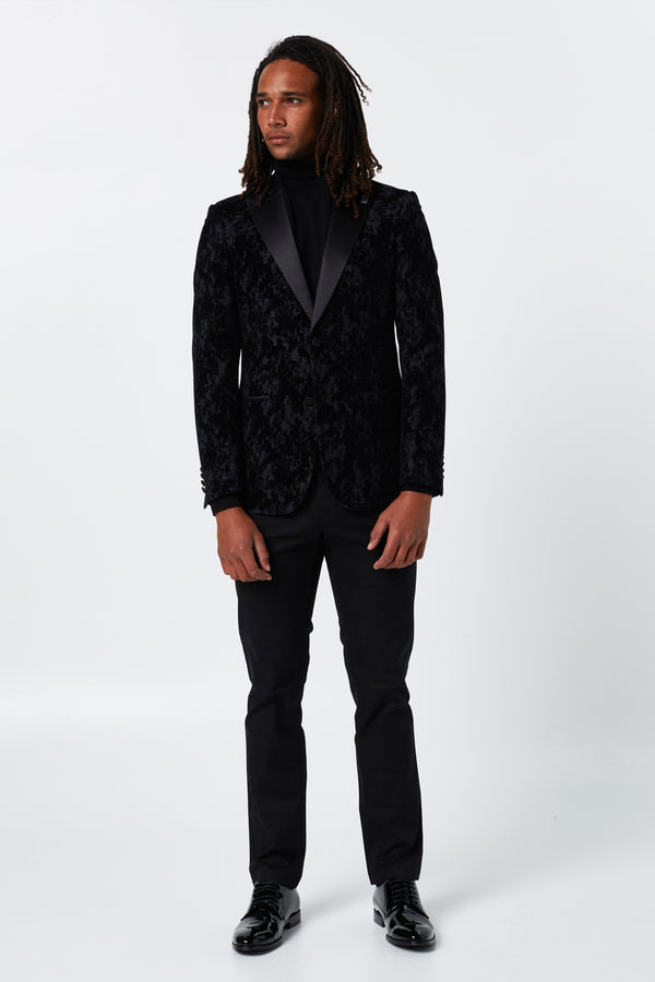BLACK WOOL AND VELVET TUXEDO SEVSK JACKET