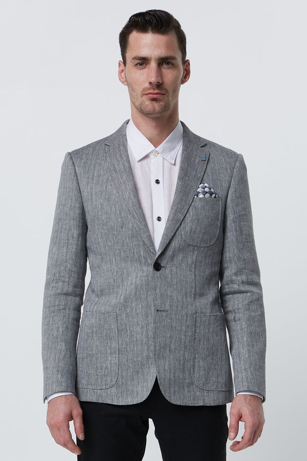 BLACK AND WHITE LINEN HERRINGBONE SLIM FIT ALEC BLAZER