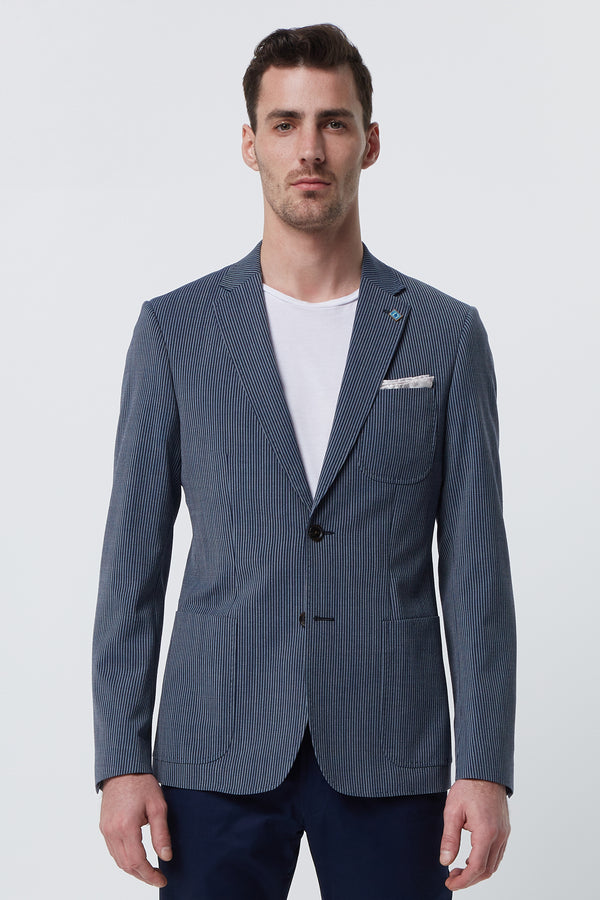NAVY AND INDIGO STRIPED WOOL STRETCH SLIM FIT BLAZER