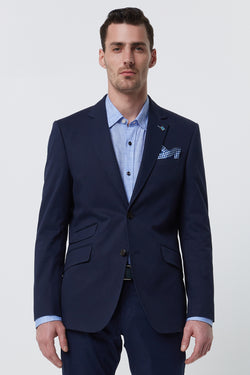 NAVY COTTON STRETCH REGULAR FIT BLAZER