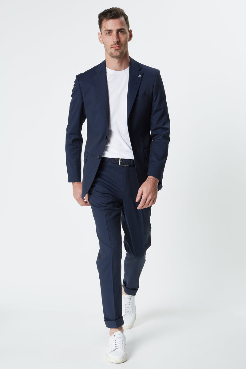 NAVY COTTON WOOL STRETCH SLIM FIT DIMITRY JACKET