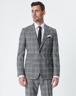 BLACK AND WHITE PRINCE OF WALES CHECK SUPER 100'S SLIM FIT CHEKHOV JACKET