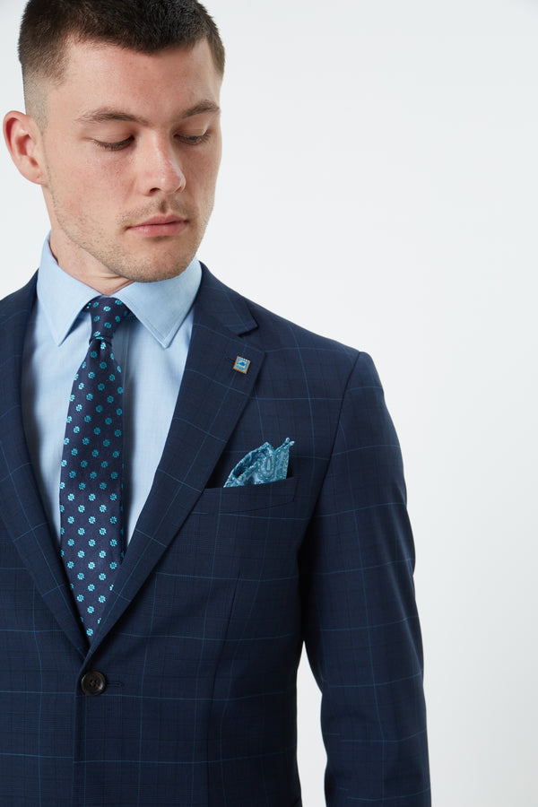 NAVY PRINCE OF WALES STRETCH 'SHADOW' CHECK SLIM FIT RONAN JACKET