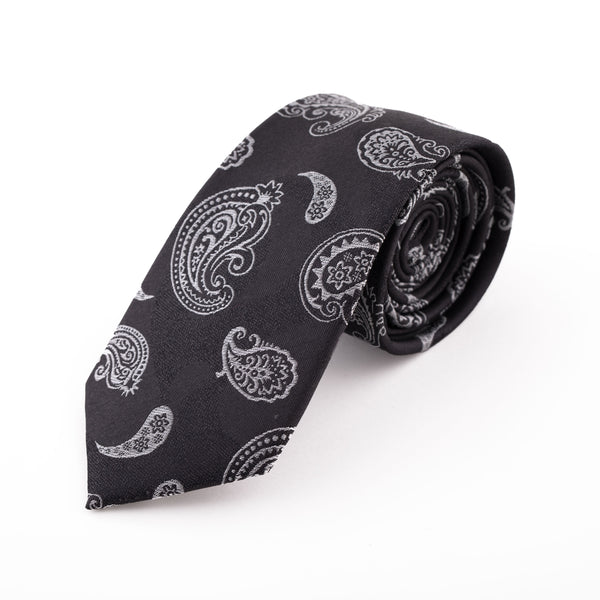 CHARCOAL PAISLEY SILK KERCH TIE
