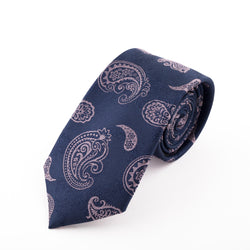 NAVY AND PINK PAISLEY SILK KERCH TIE