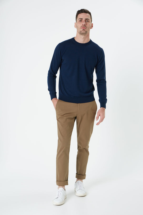 NAVY MERINO WOOL CREW NECK KNITWEAR