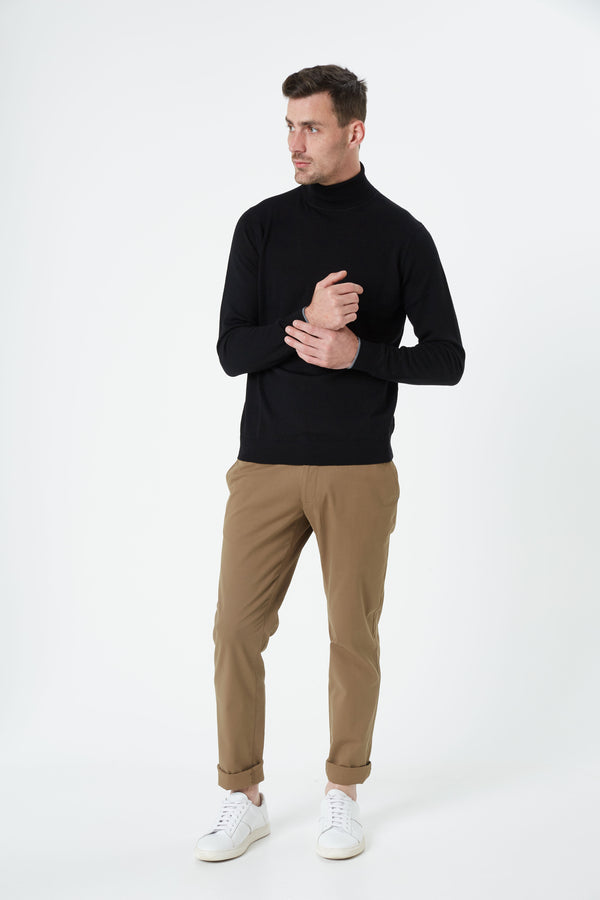 BLACK MERINO WOOL POLO KNITWEAR