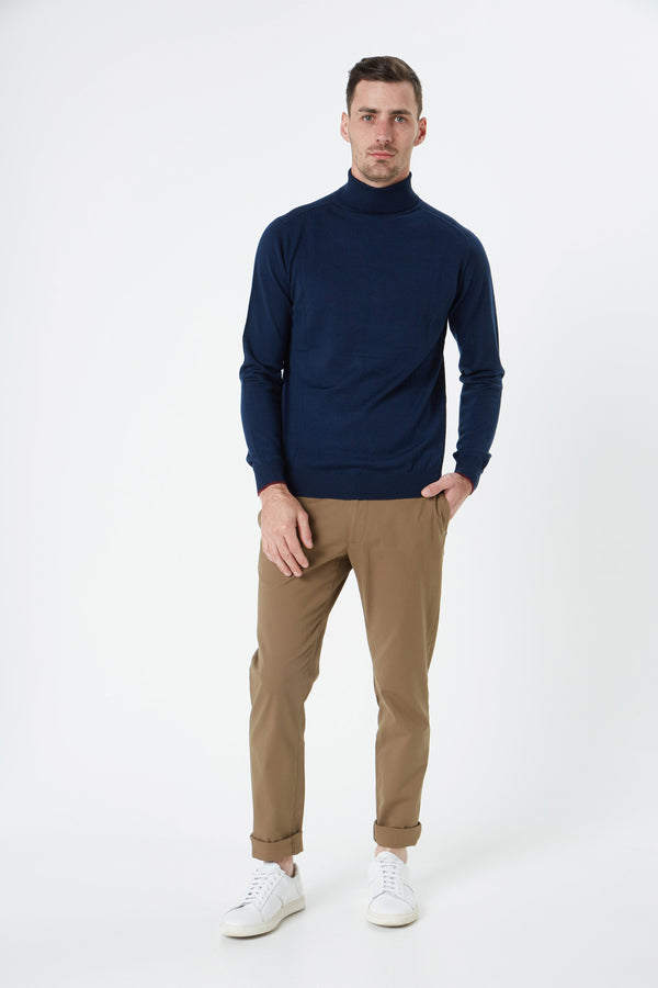 NAVY MERINO WOOL POLO KNITWEAR