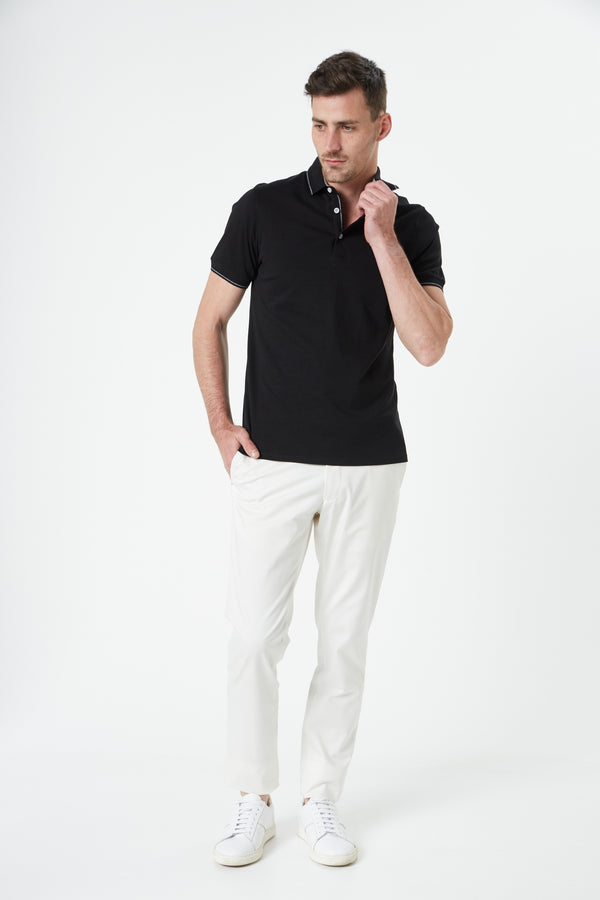 BLACK LUXURY COTTON POLO