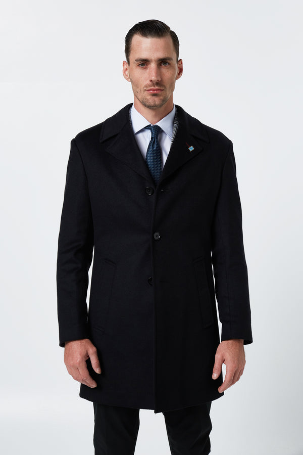 BLACK MELTON WOOL RAIN OVERCOAT