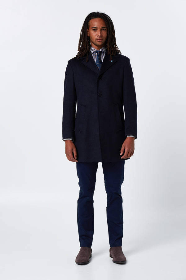 NAVY MELTON WOOL RAIN OVERCOAT