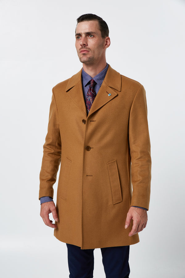 CAMEL MELTON WOOL RAIN OVERCOAT