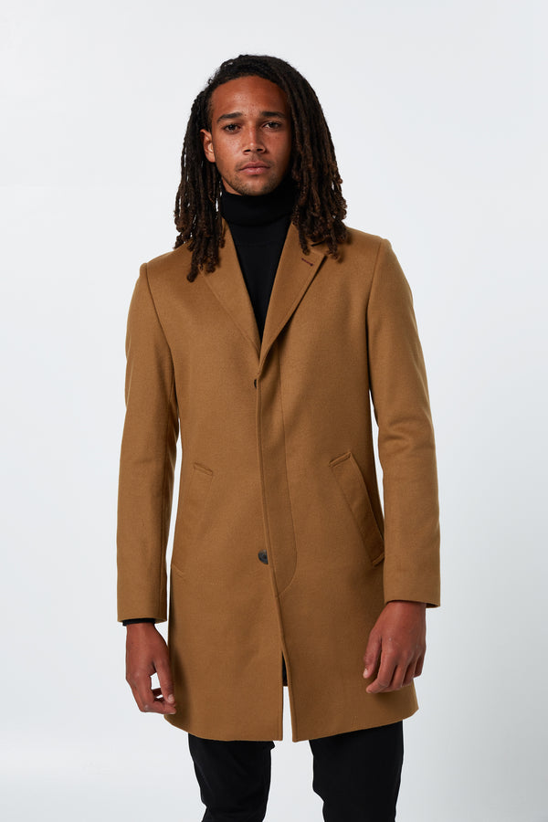 CAMEL MELTON WOOL SNOW OVERCOAT