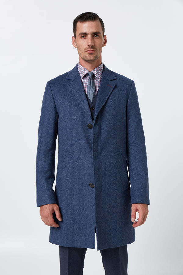 BLUE MELANGE WOOL CASHMERE HERRINGBONE SNOW OVERCOAT