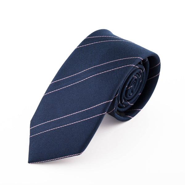 NAVY AND PINK FINE STRIPE SILK POTI TIE