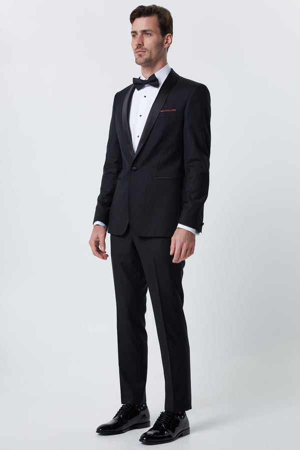 BLACK SUPER 120'S WOOL SLIM FIT RYTSAR TUXEDO JACKET