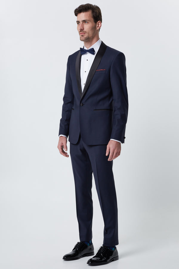 NAVY SUPER 120'S WOOL SLIM FIT RYTSAR TUXEDO JACKET