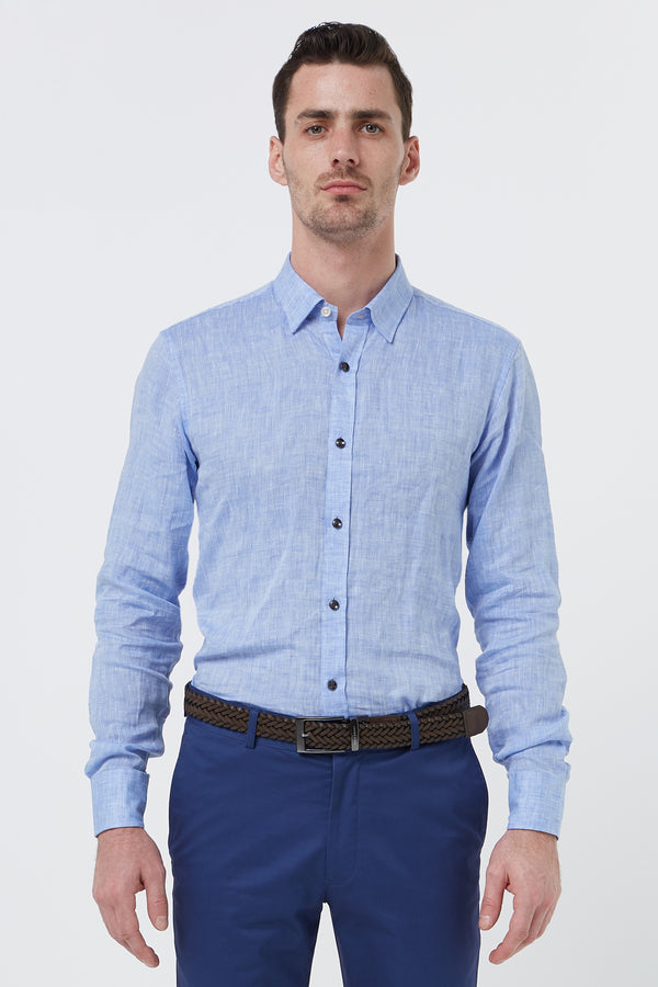 BLUE LINEN SLIM FIT KOSH SHIRT