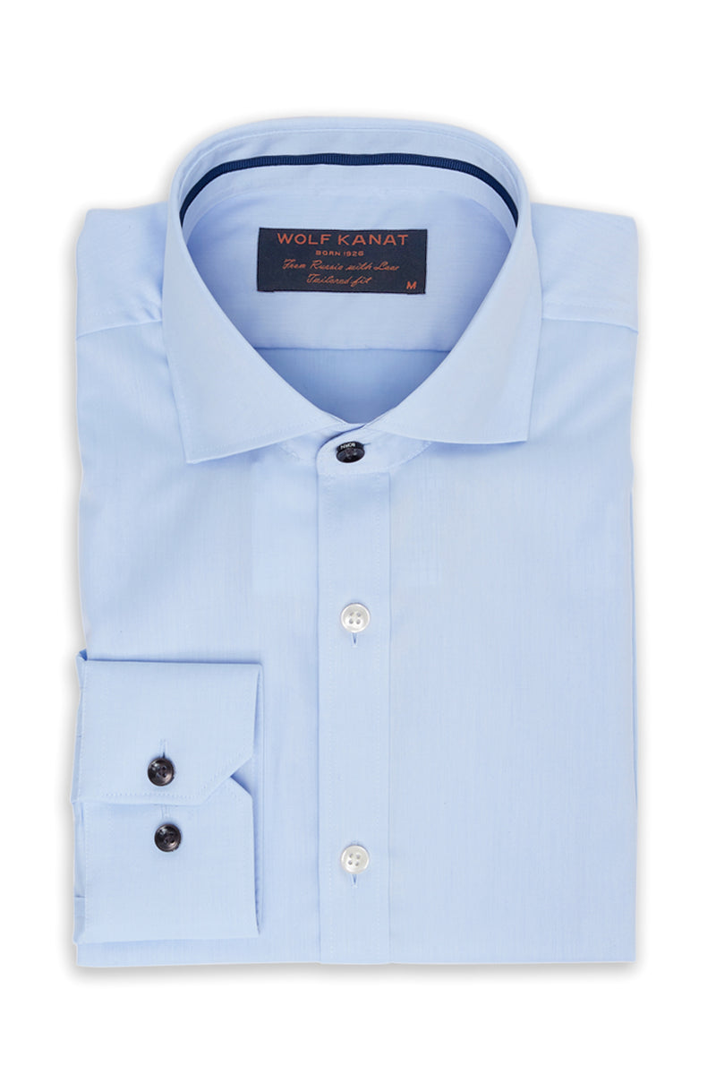 BLUE COTTON TWILL SLIM FIT ROMANOV SHIRT