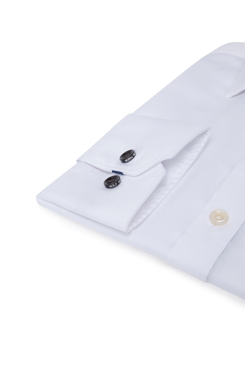 WHITE COTTON TWILL SLIM FIT ROMANOV SHIRT