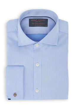 BLUE TEXTURED COTTON DOUBLE CUFF SLIM FIT RURIK SHIRT