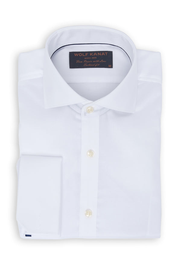 WHITE TEXTURED COTTON DOUBLE CUFF SLIM FIT RURIK SHIRT