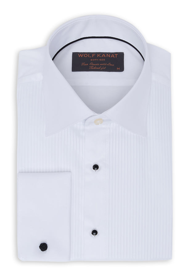 WHITE PLEATED BIB FRONT COTTON SLIM FIT TUXEDO SHIRT