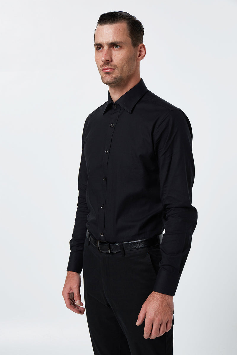 BLACK TWILL SLIM FIT ROMANOV SHIRT