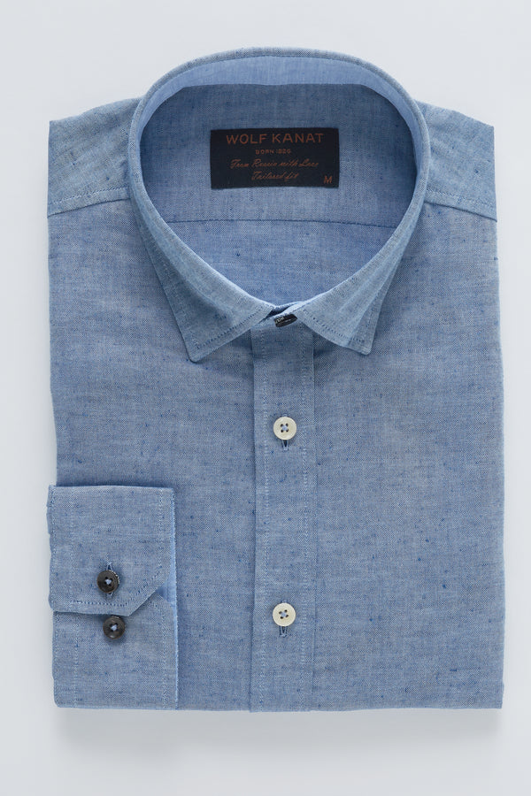 INDIGO LINEN SLIM FIT KOSH SHIRT