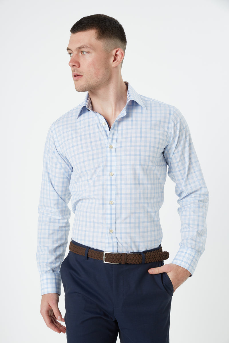 BLUE MELANGE CHECK SLIM FIT ROMANOV SHIRT