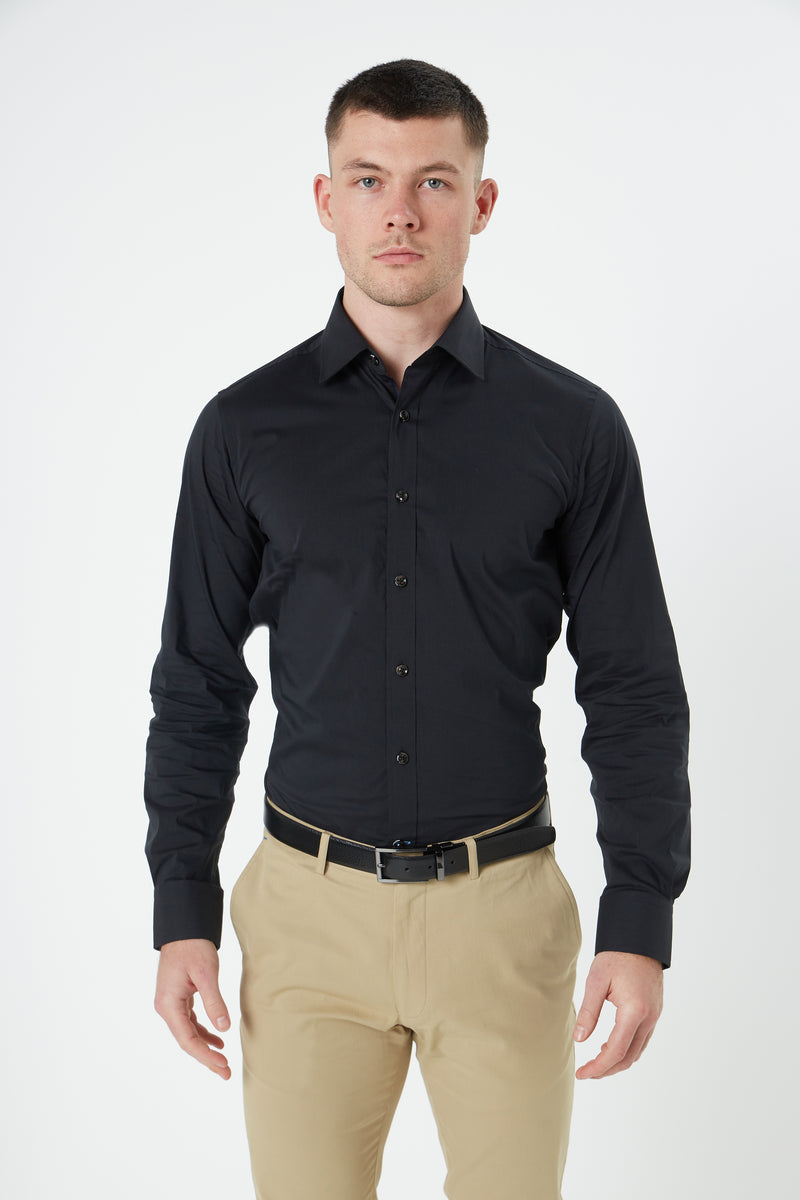 BLACK STRETCH COTTON SLIM FIT HERVE SHIRT
