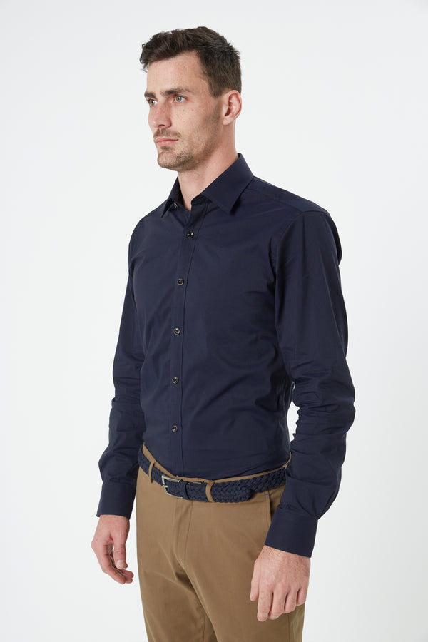 NAVY STRETCH COTTON SLIM FIT HERVE SHIRT