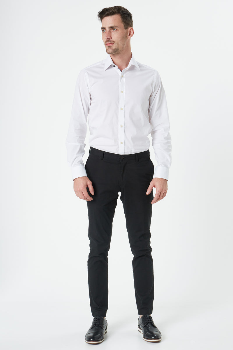WHITE STRETCH COTTON SLIM FIT HERVE SHIRT