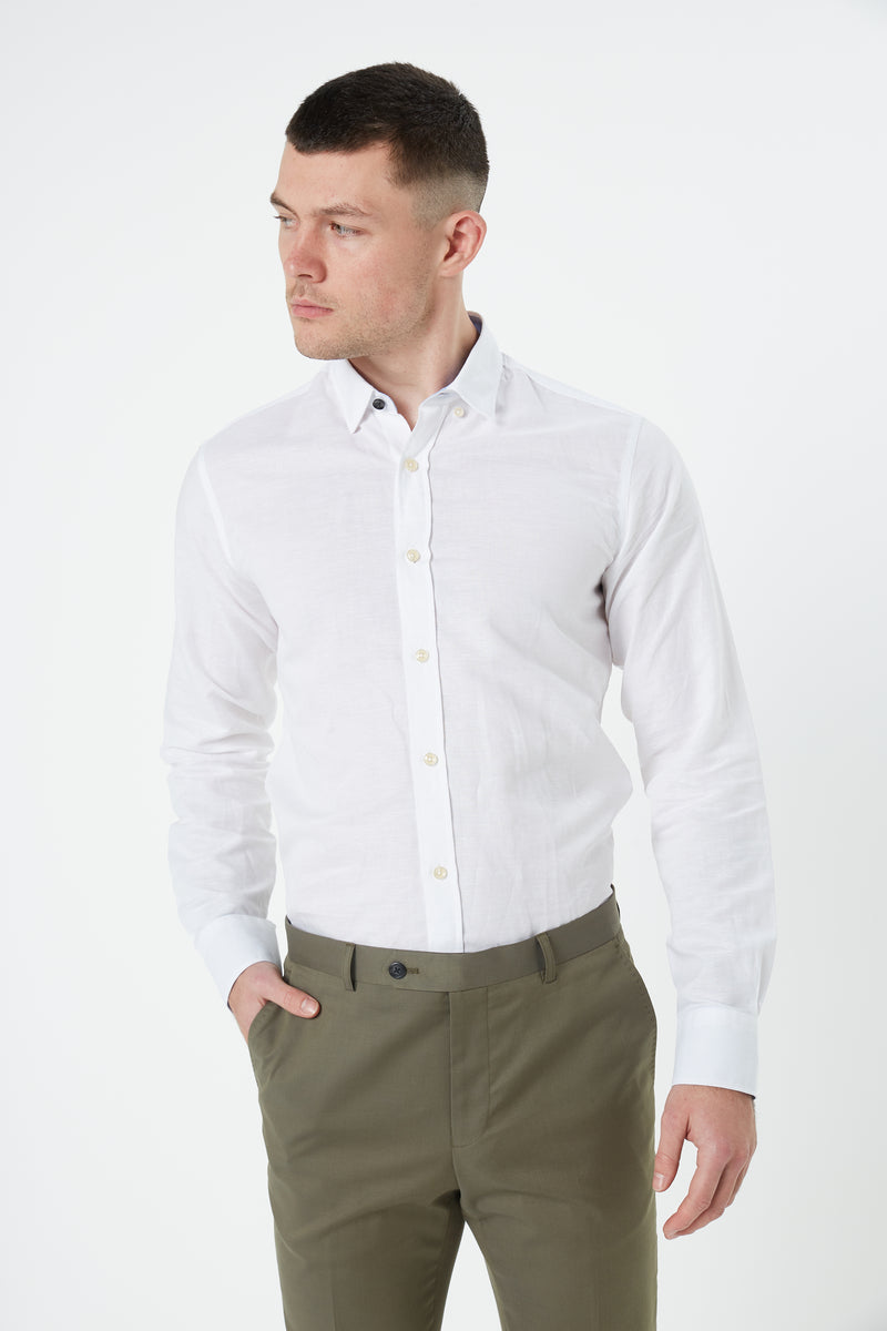 WHITE LINEN SLIM FIT KOSH SHIRT
