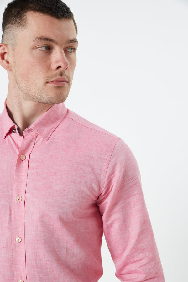 BERRY RED LINEN SLIM FIT KOSH SHIRT
