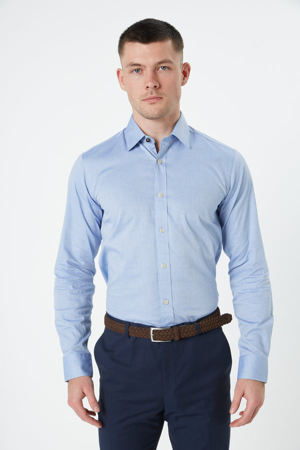 BLUE MICRO ZIG ZAG TEXTURED TWILL SLIM FIT ROMANOV SHIRT