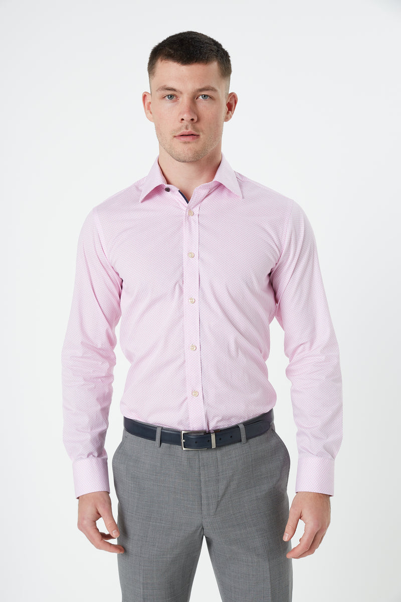 PINK GEOMETRIC PRINT SLIM FIT ROMANOV SHIRT