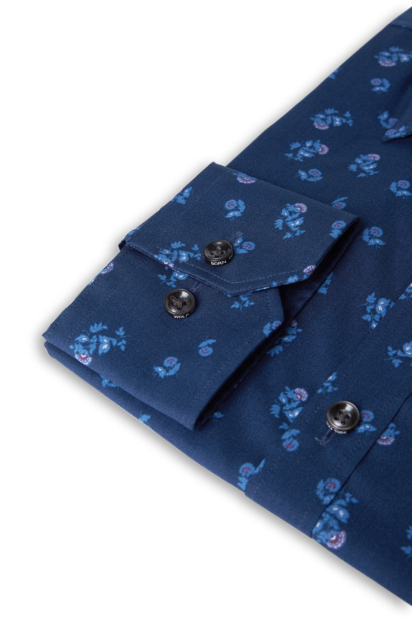 NAVY FLORAL PRINT COTTON SLIM FIT ROMANOV SHIRT